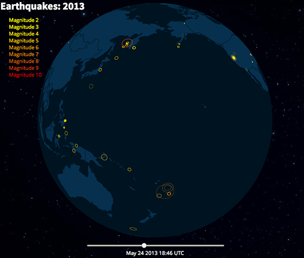 Planetary.js: 2013 Earthquakes